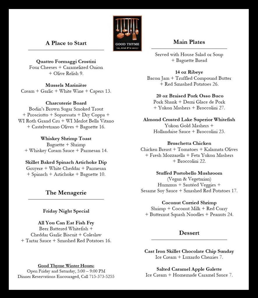 Good Thyme Restaurant February 2018 Menu